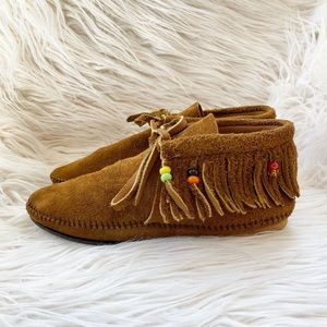 Vintage Classic Beaded Fringed Leather Moccasins